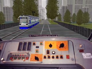 A meet on the Modern City Tramway while webDotTrainSim tests his first activity.